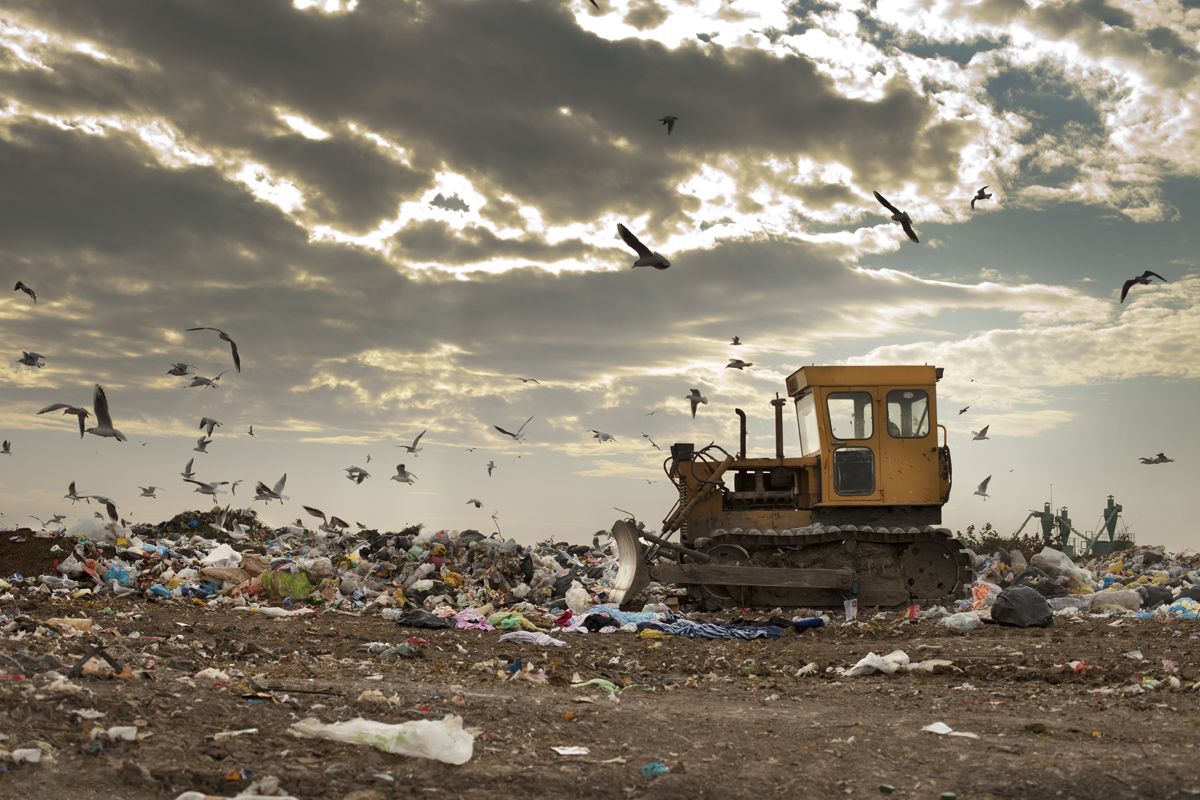 Landfill garbage waste dumped in the rubbish dump site